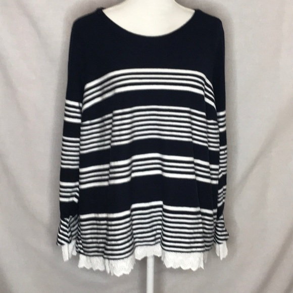 b6083adf5c434 crown & ivy Sweaters | Crown Ivy Curvy 2x Cotton Sweater Eyelet Trim ...